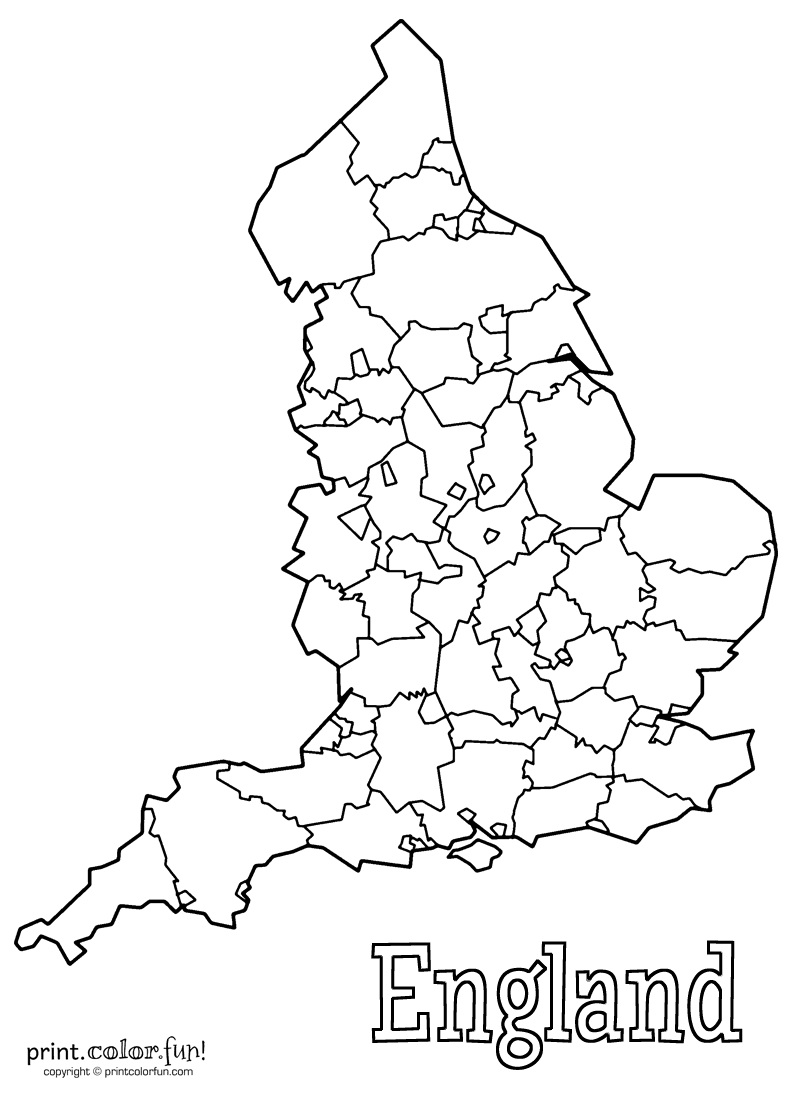 map of england coloring page print color fun