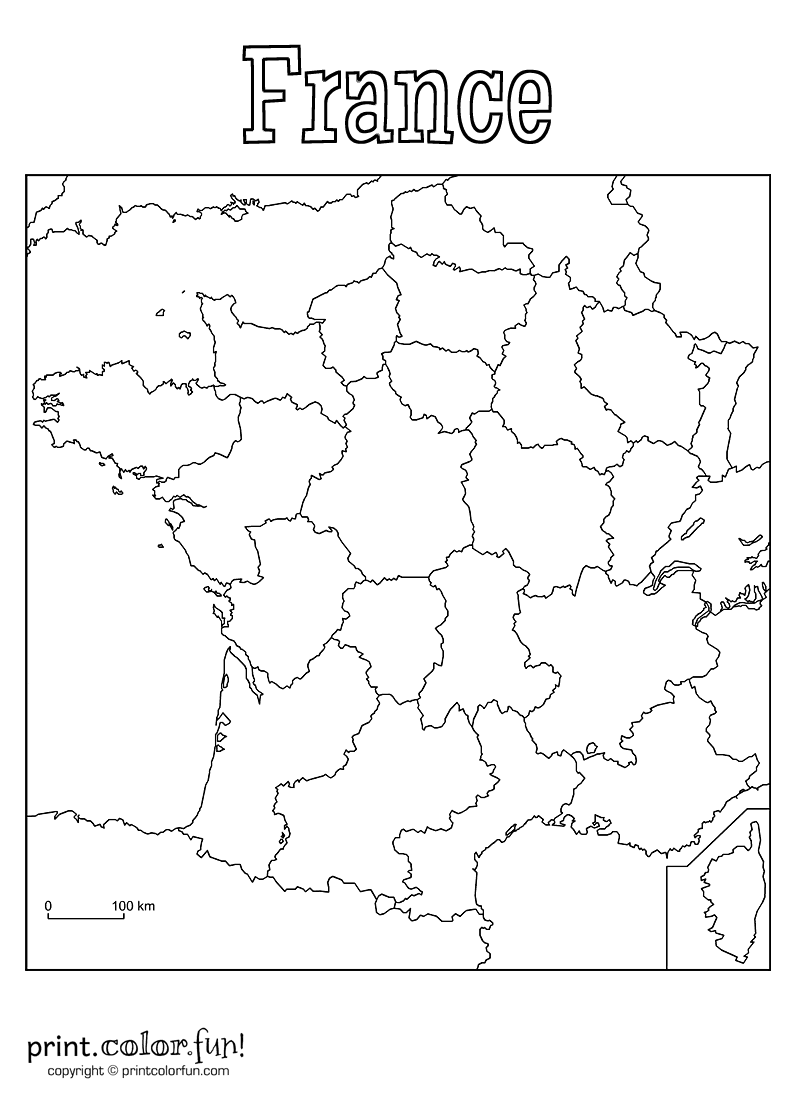 Map Of France Drawing.Blank Map Of France Coloring Page Print Color Fun