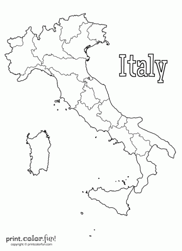 Blank map of Italy coloring page - Print. Color. Fun!