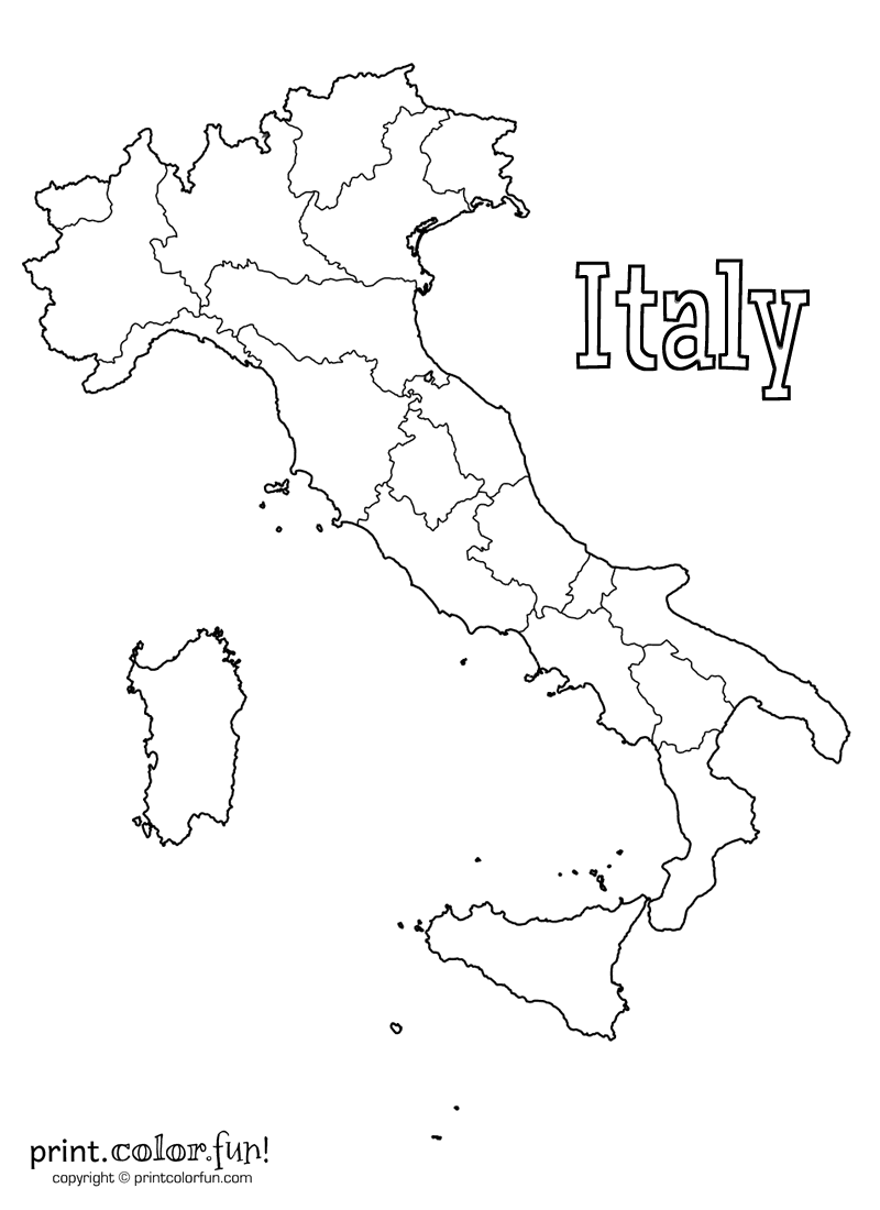 Clip Art Coloring Pages Of Italy map of italy coloring page print color fun
