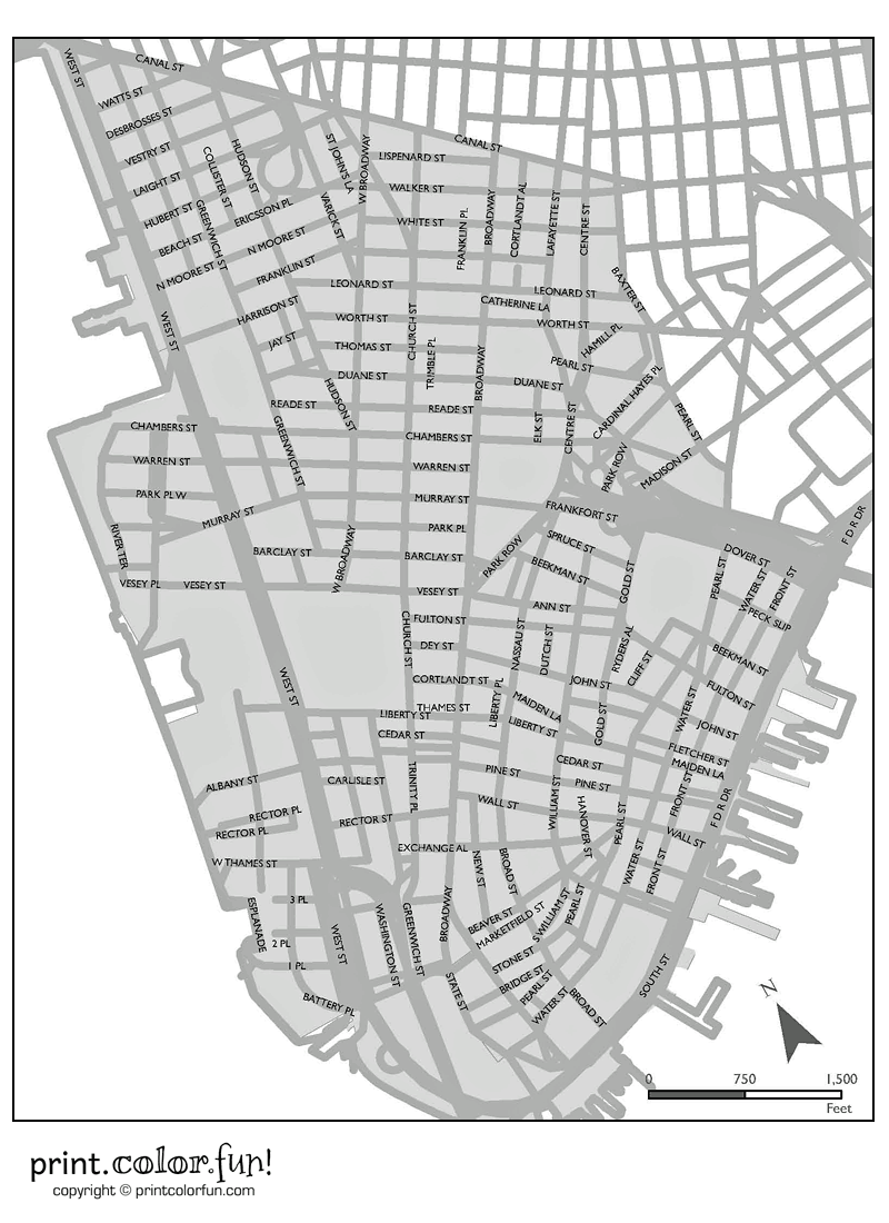 map of manhattan coloring page print color fun