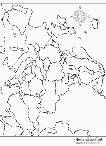 Map Of Europe Coloring Page Print Color Fun - Sweden map coloring page
