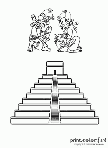 Mayan pyramid coloring page Print Color Fun
