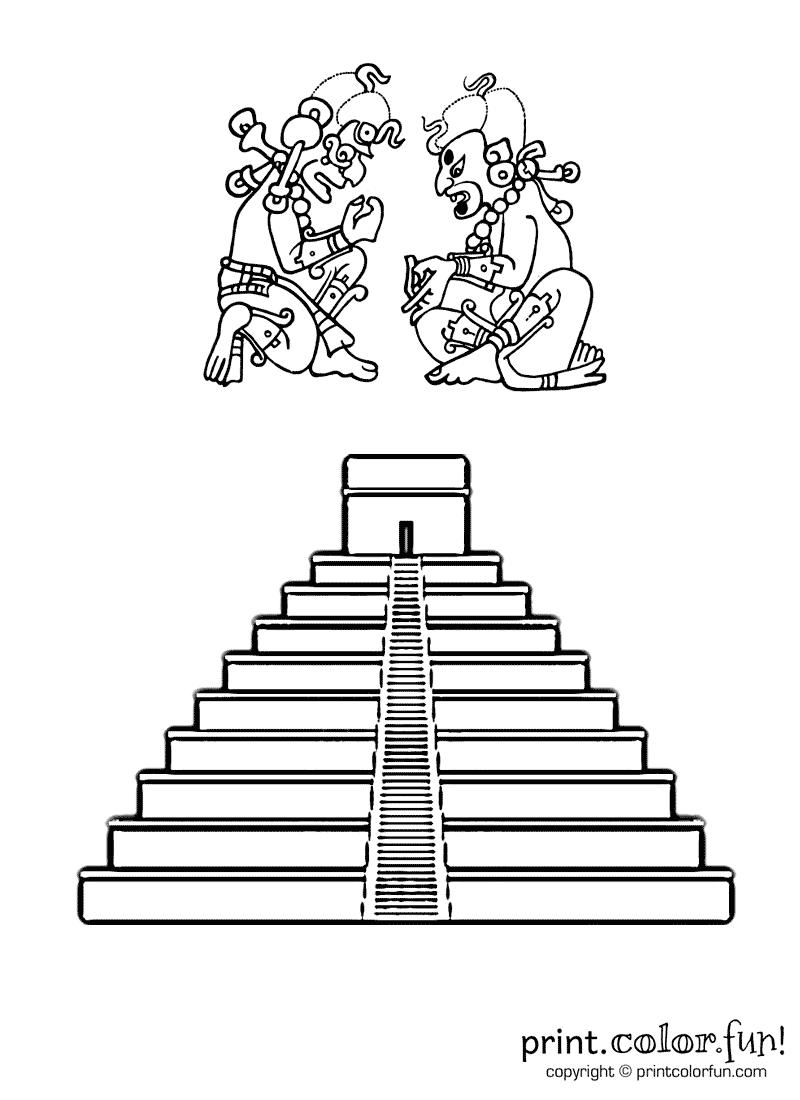 mayan pyramid coloring pages - photo#3