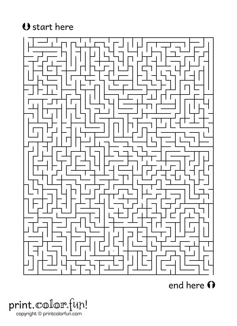 Large Maze 2 Coloring Page Print Color Fun