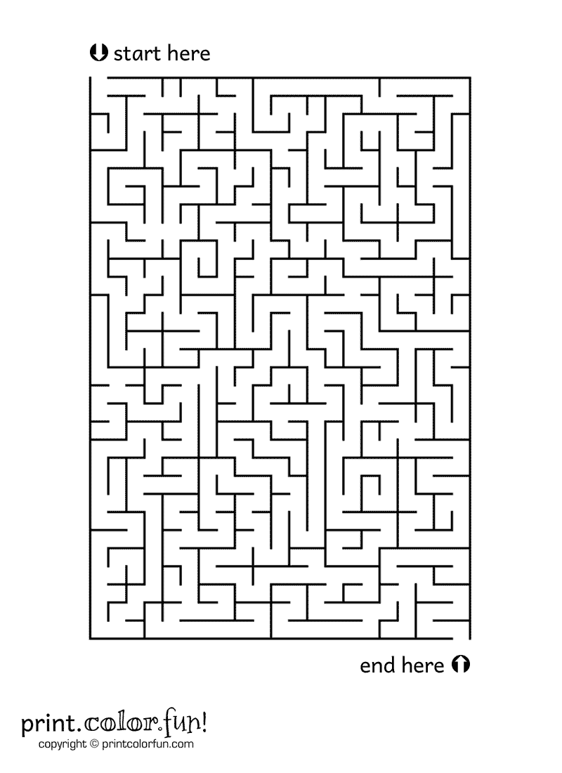 Rectangle Maze Coloring Page Print Color Fun
