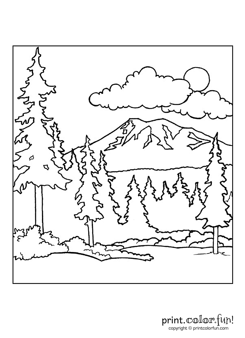 free mountain landscape coloring pages-#14