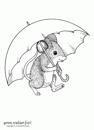 Mouse with an umbrella coloring page Print Color Fun