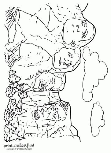 Mount Rushmore Coloring Page Print Color Fun