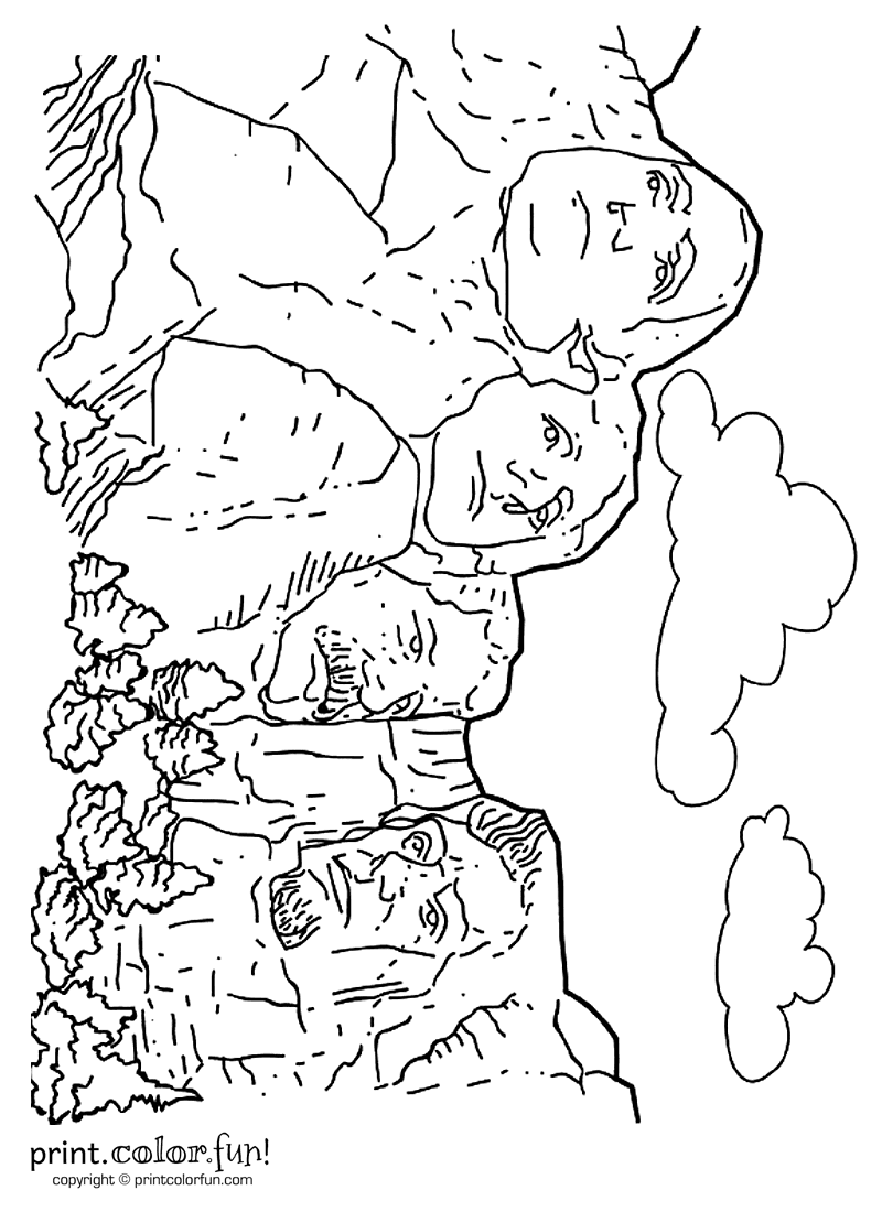 mount rushmore coloring page print color fun
