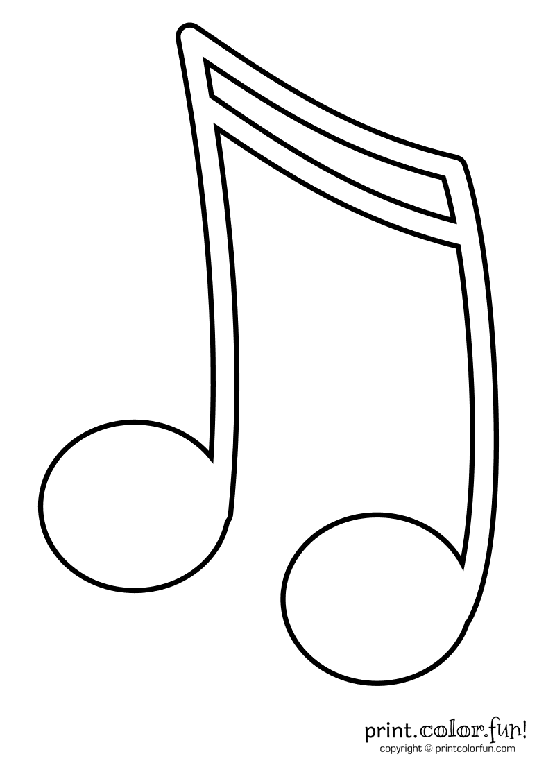 Sixteenth Musical Note Coloring Page