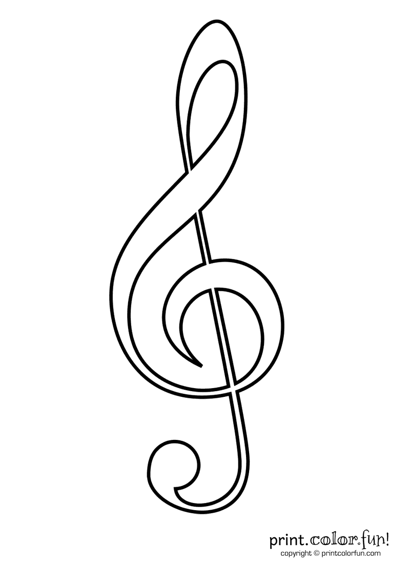 treble clef coloring page print color fun