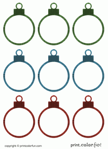 Christmas ornament gift tags coloring page print color fun