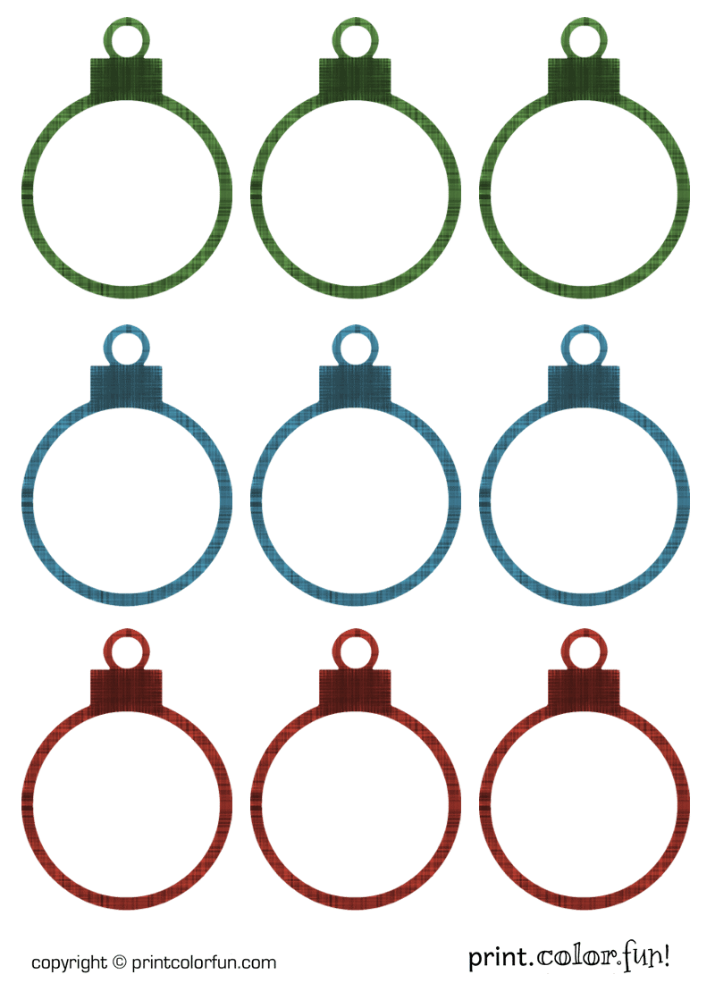 Christmas ornament gift tags coloring
