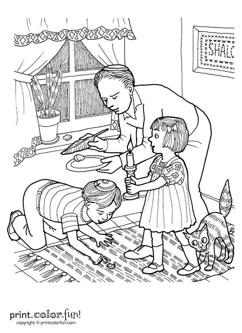 passover search for chametz coloring page print color fun - Passover Coloring Pages Printable