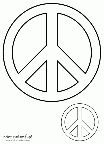 Peace Sign Coloring Print Color Fun