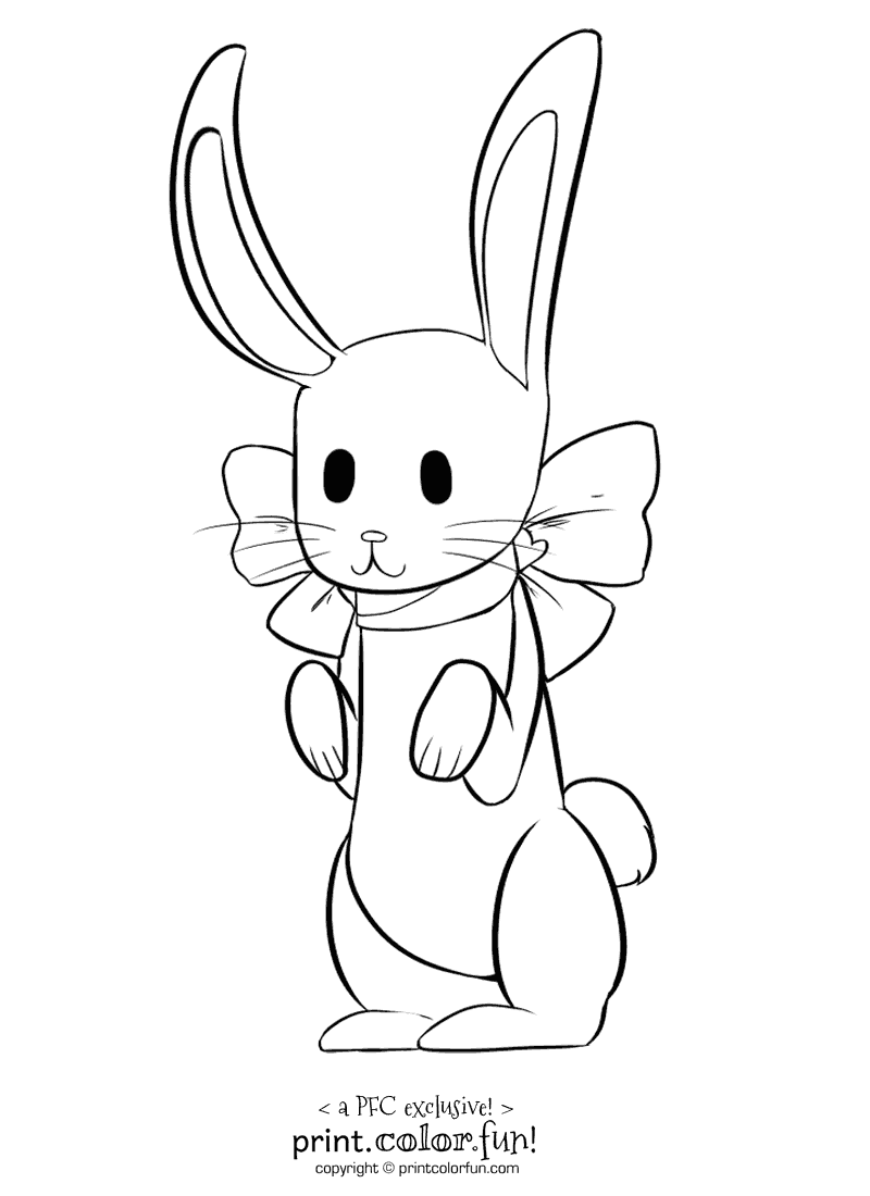 Rabbit with a bow coloring page - Print. Color. Fun!