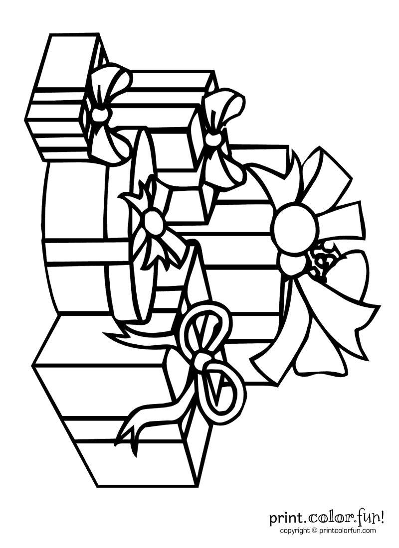 Pile of presents coloring page