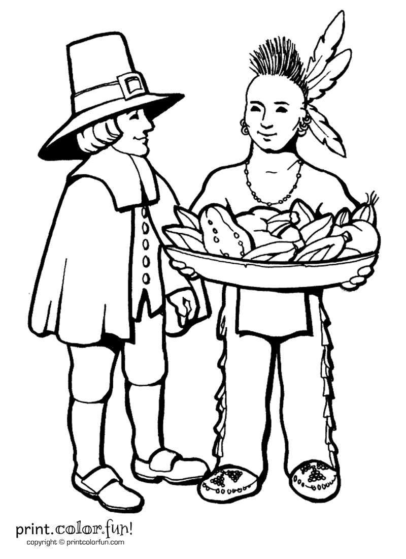 Thanksgiving pilgrims coloring page Print Color Fun