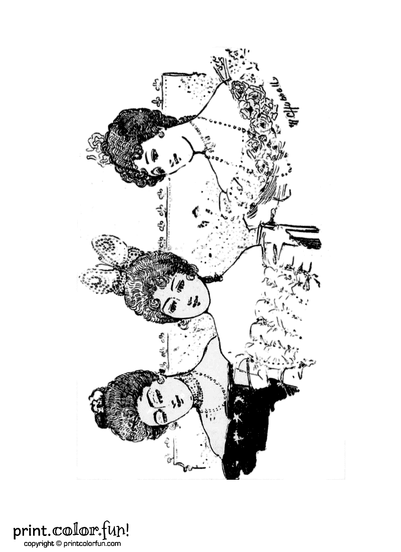 3 Women With Vintage Hairstyles Coloring Page Print
