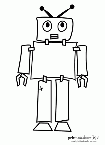 Robot coloring page Print Color Fun