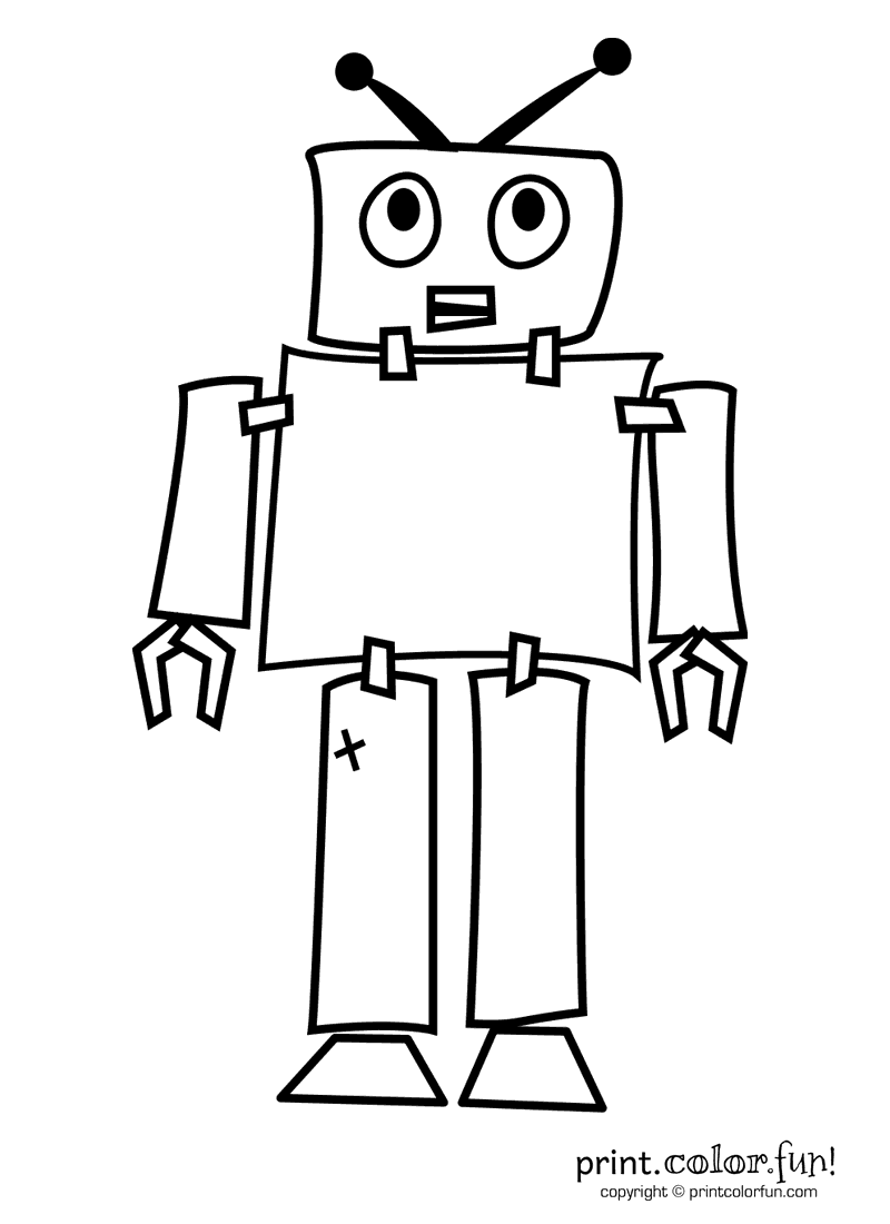 Robot coloring page Print Color