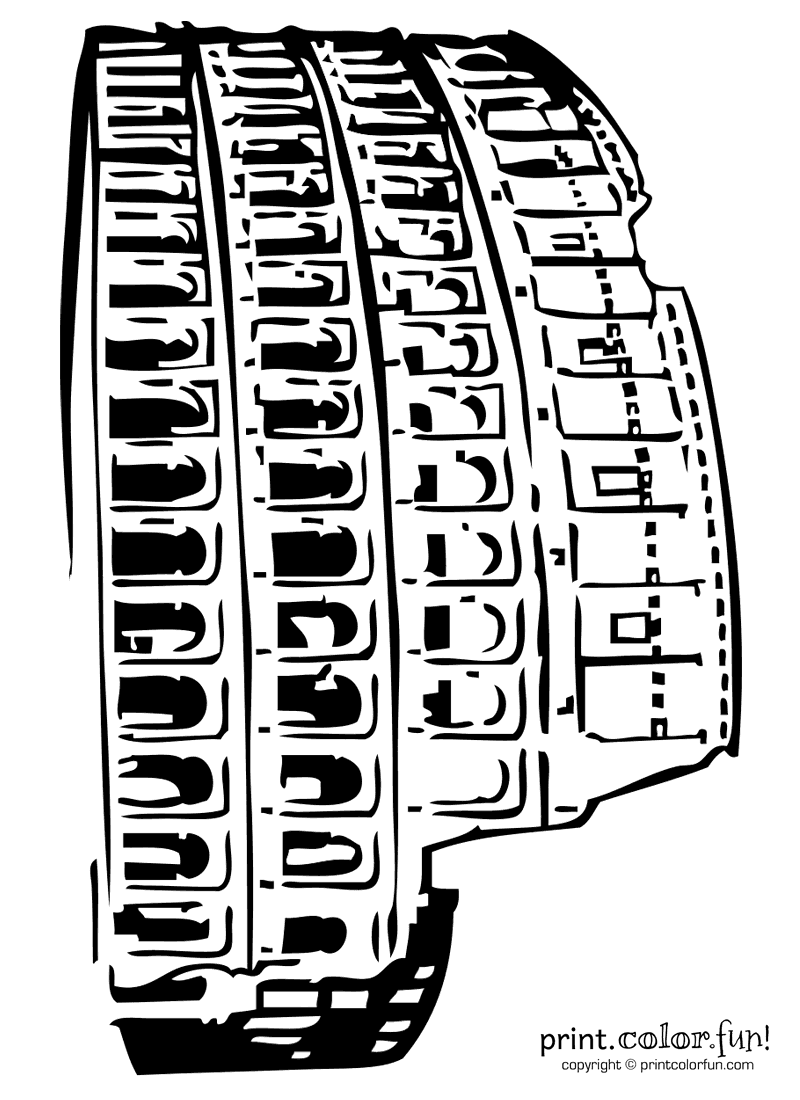 roman colosseum coloring page print color fun