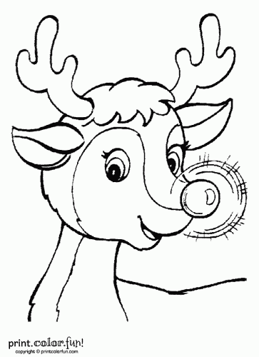 rudolph the rednosed reindeer coloring page  print. color. fun, coloring pages