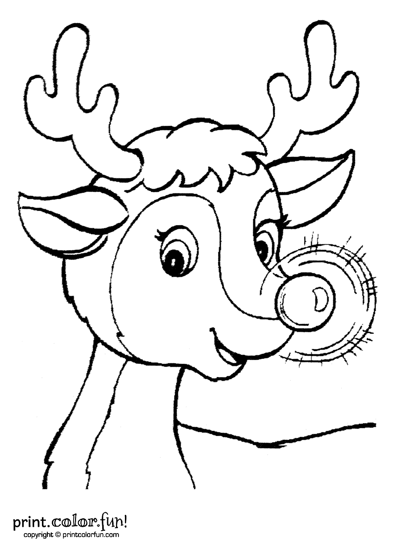 rudolph the red nosed reindeer coloring page print color fun