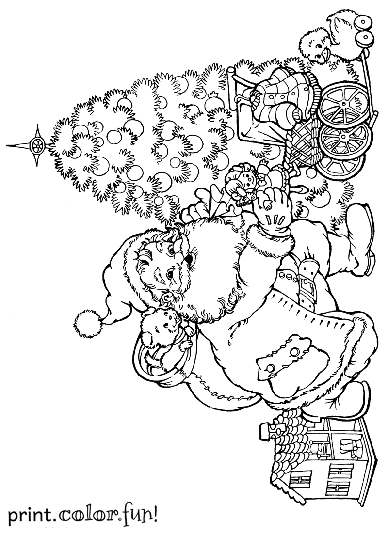 Santa Putting Presents Under The Christmas Tree Coloring Tree With Santa Claus Coloring Page