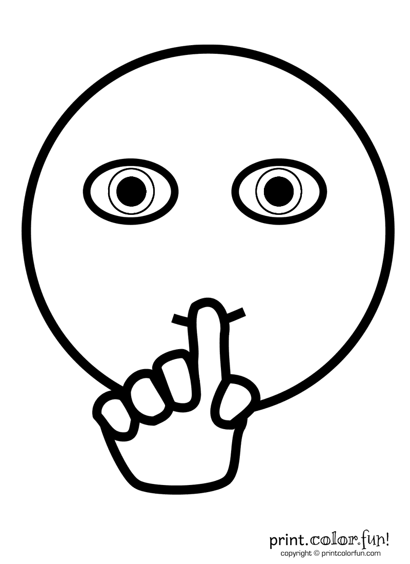 Worksheet For Be Quiet : Quot shh face coloring page print color fun