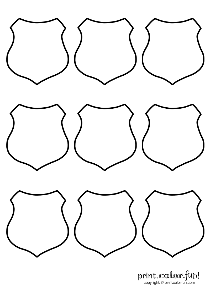 shield template to print - 9 blank shields coloring page print color fun