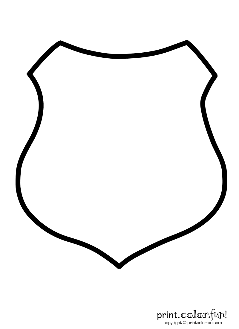 Police shield coloring page print color fun for Blank shield template printable