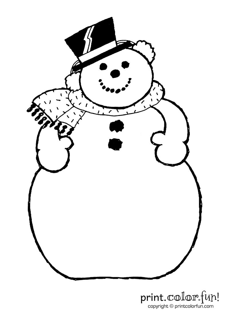 A snowman coloring page Print