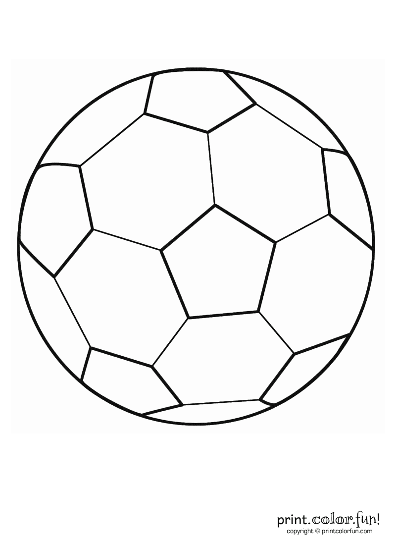 Soccer ball coloring page print color fun for Football cutout template