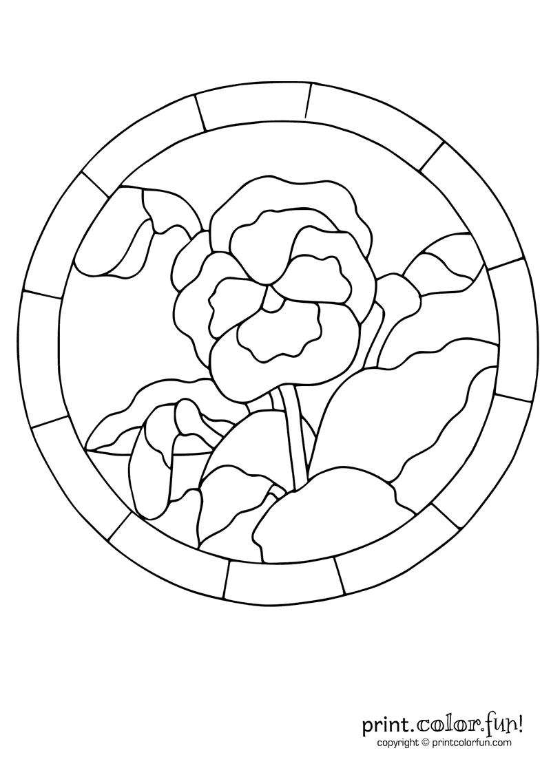 Stained glass pansy coloring page print color fun for Stained glass window coloring pages