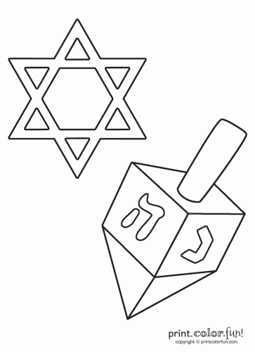 Star of David and dreidel coloring page Print Color Fun