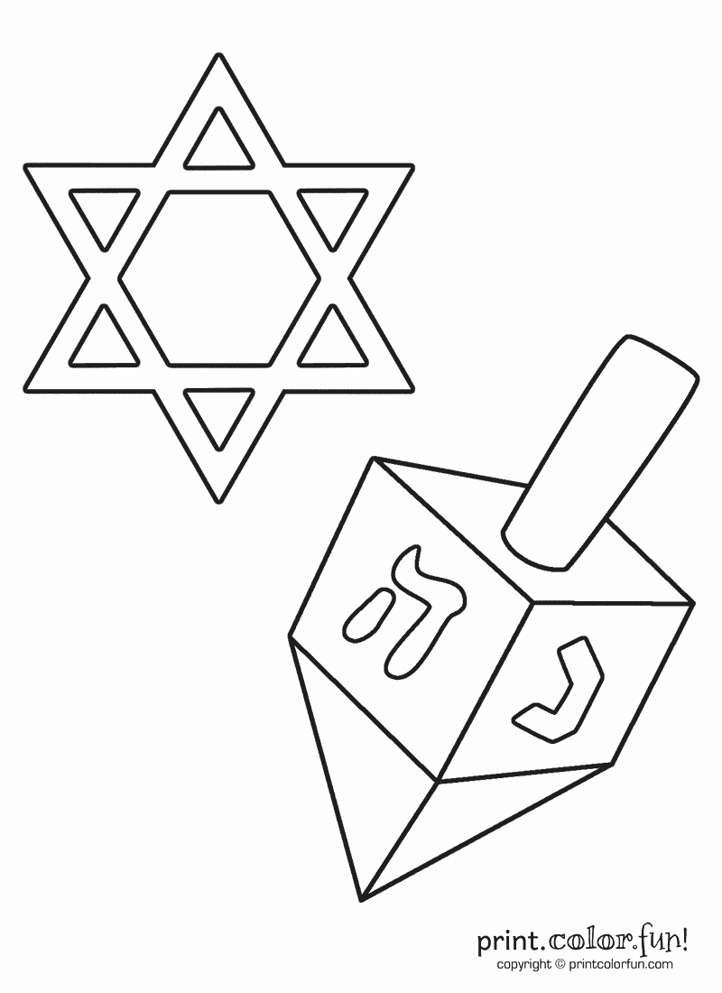 star of david and dreidel coloring page