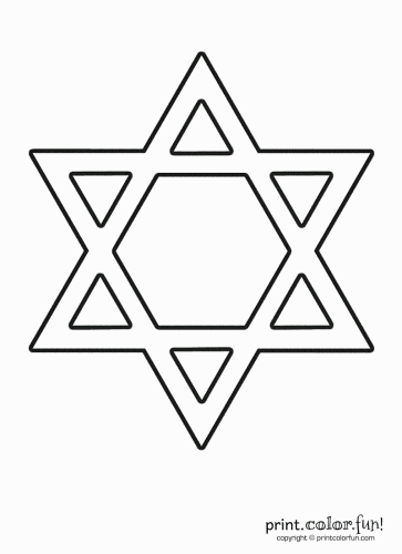 Jewish star of david print color fun free printables for Star of david coloring page