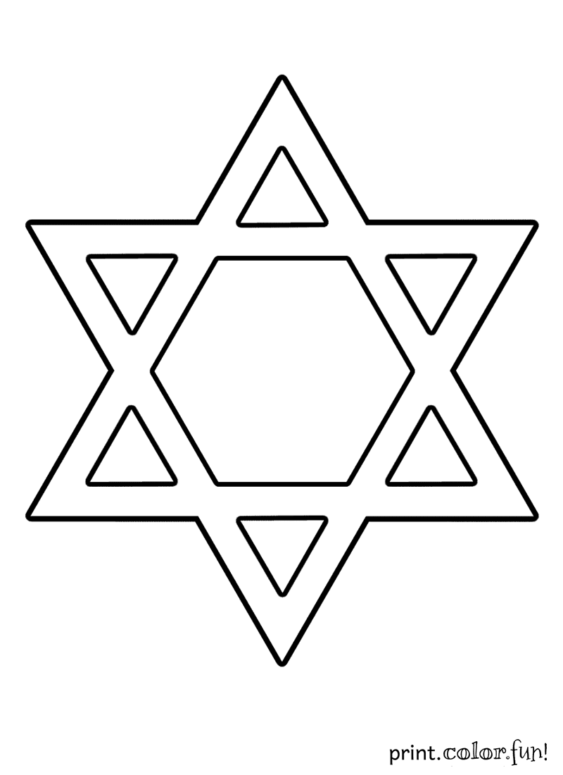 Star of David coloring page Print Color Fun