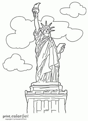 color this picture of new yorks famous lady liberty the