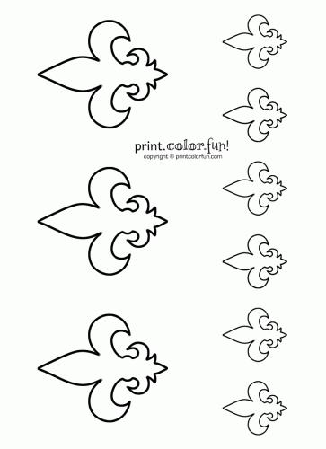 Stencils fleur de lis 2 coloring page print color fun for Printable fleur de lis coloring pages