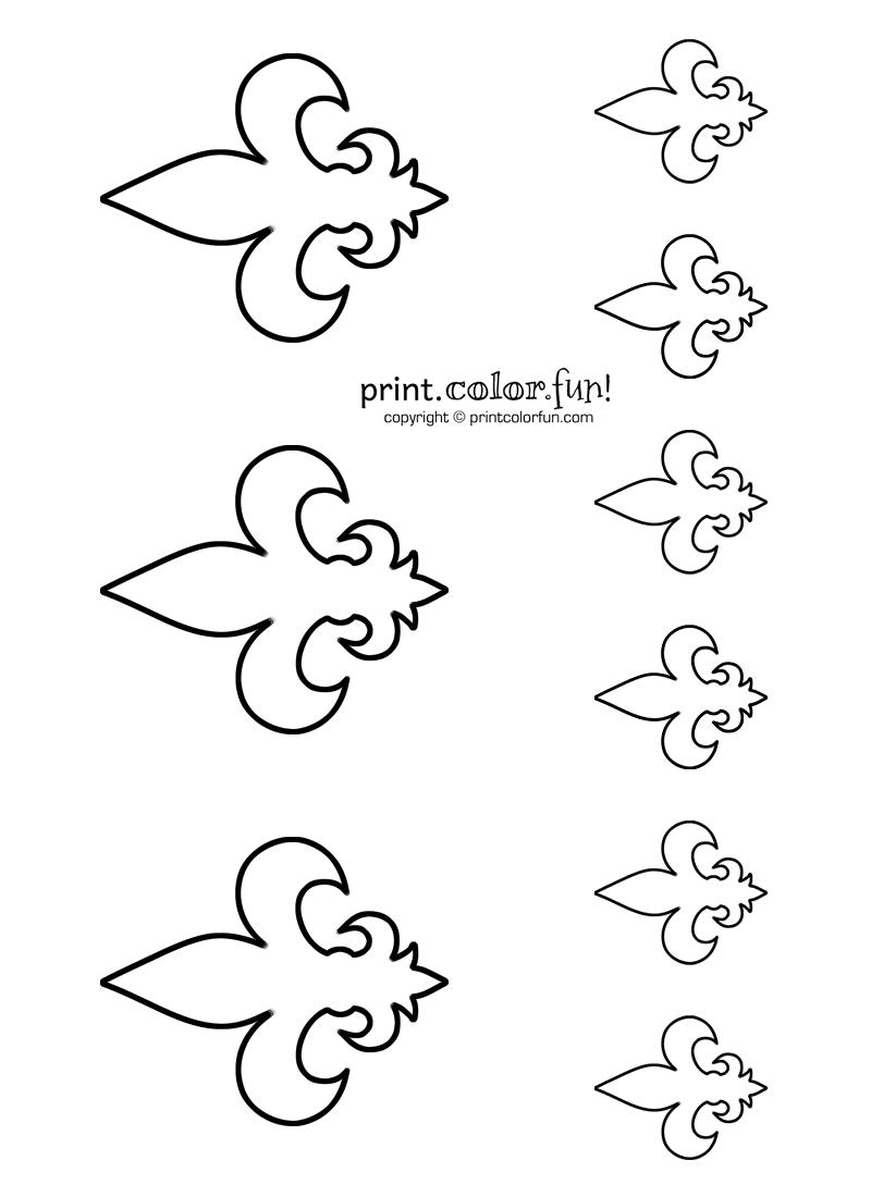 Stencils fleur de lis 2 coloring page print color fun for Fleur de lis coloring page