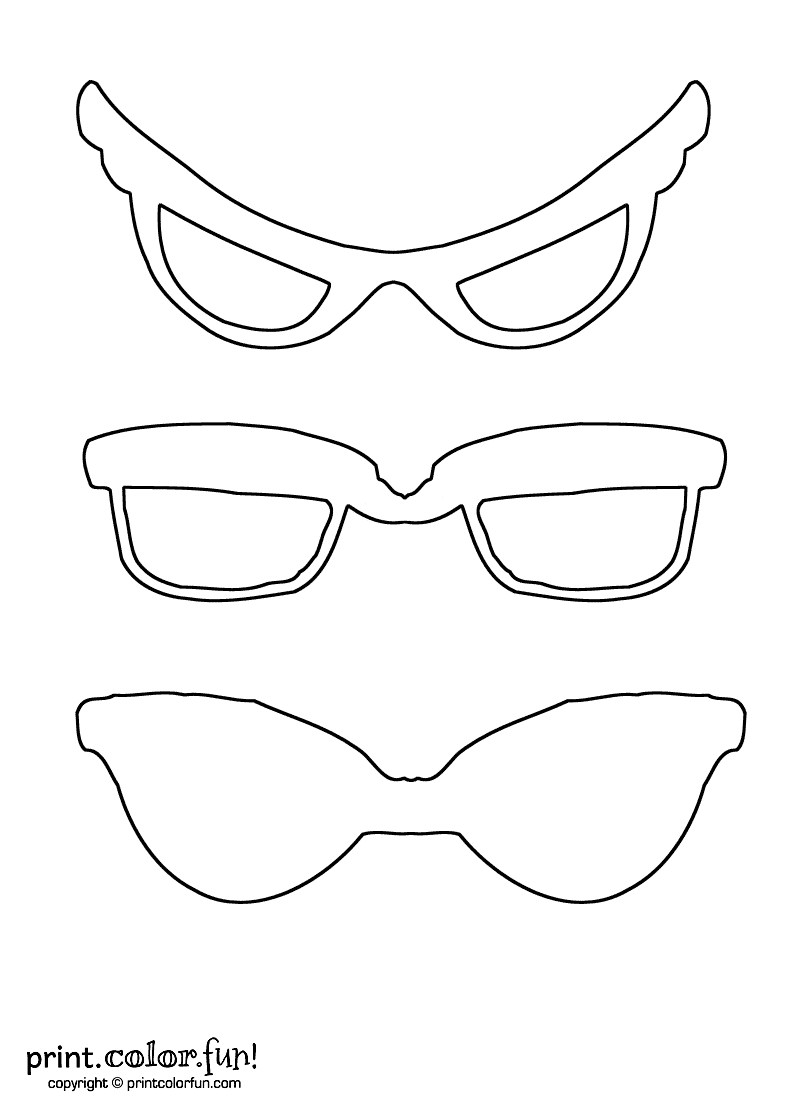 printable sunglasses coloring pages | Sunglasses coloring page - Print. Color. Fun!