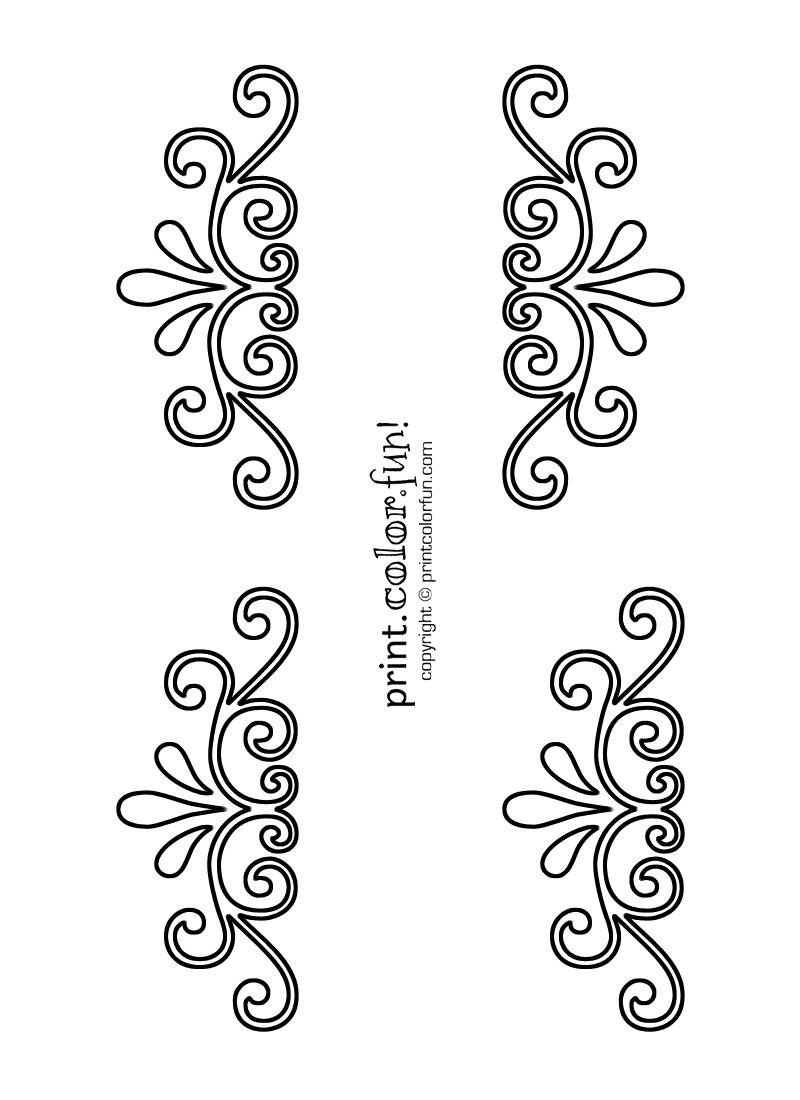 Swirl and flourish stencils coloring page - Print. Color. Fun!