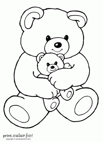 mom and baby bear coloring page print color fun with teddy bears coloring pages - Teddy Bear Picnic Coloring Pages