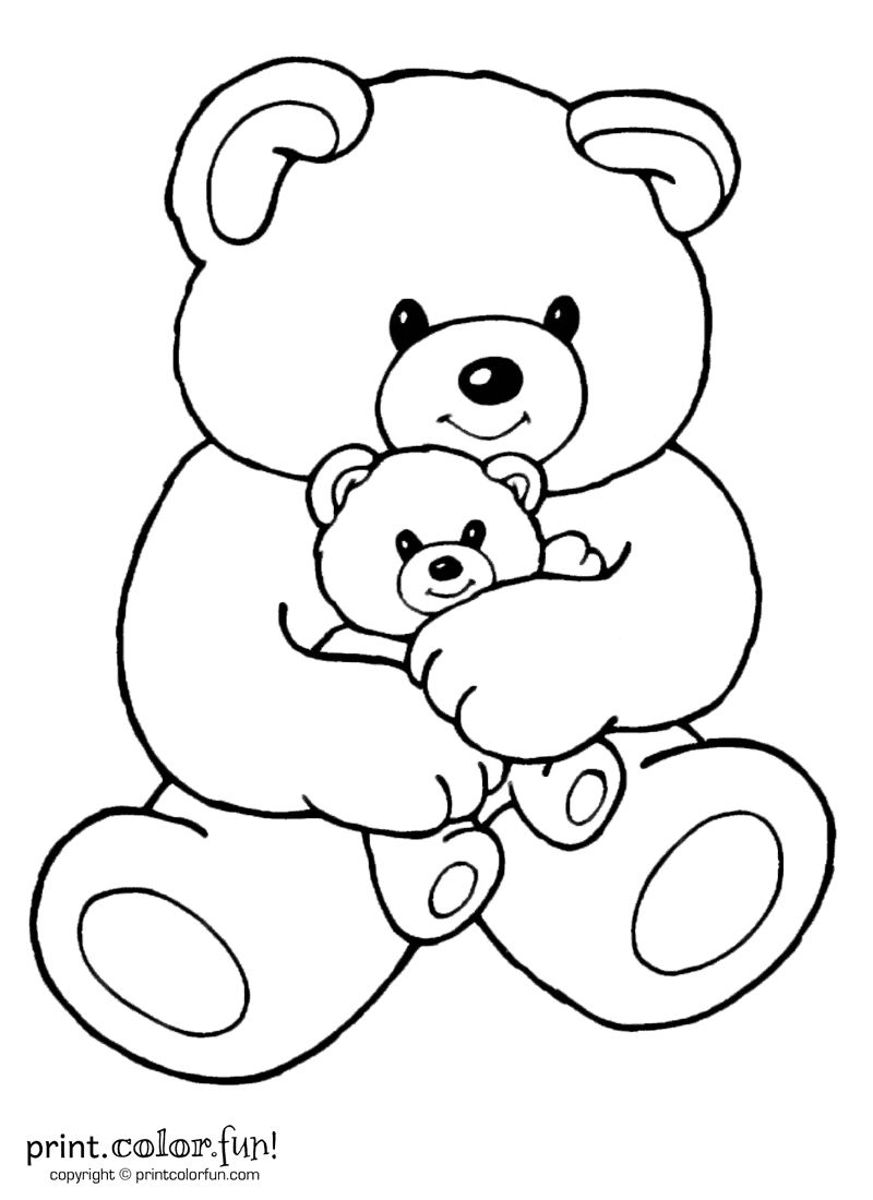 Mom and baby bear coloring page Print Color Fun