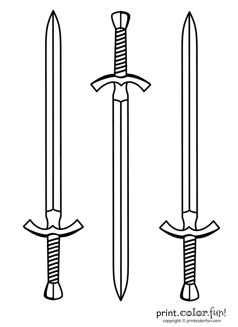 coloring pages with swords | Three swords coloring page - Print. Color. Fun!