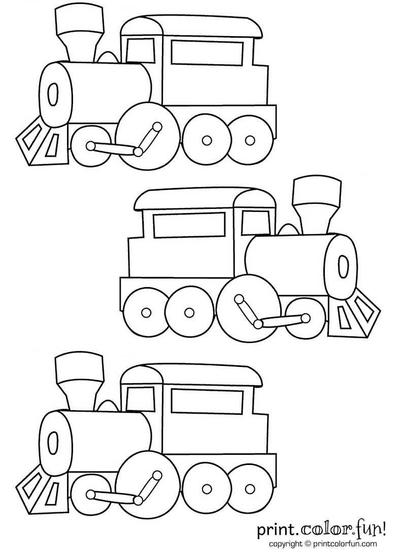 coloring pages trains preschoolers development - photo#5