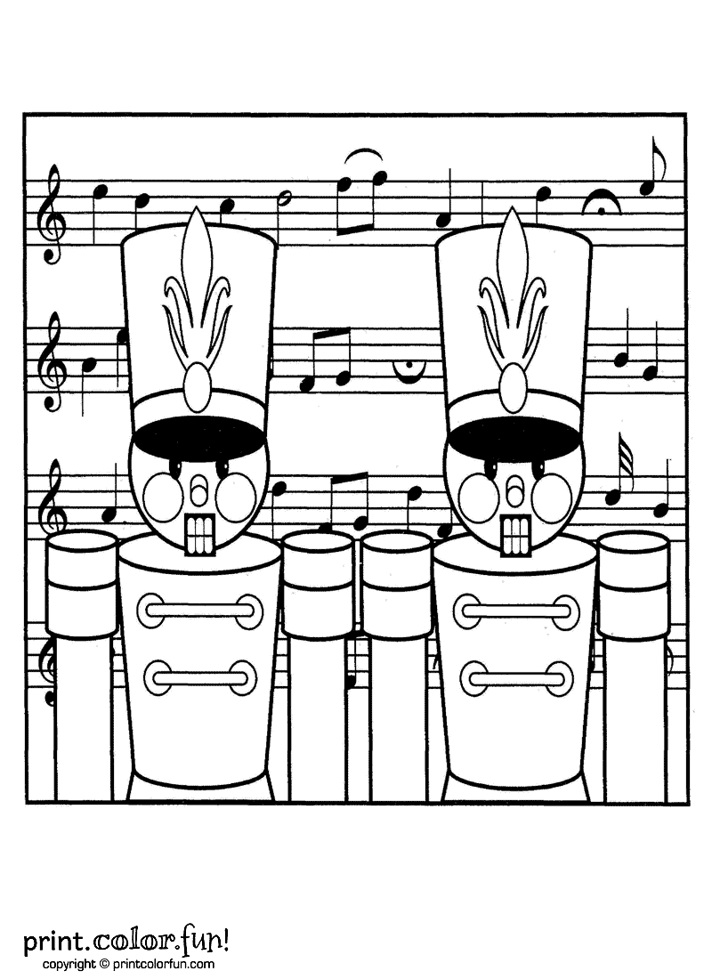 Toy Nutcracker Soldiers For Christmas Coloring Page
